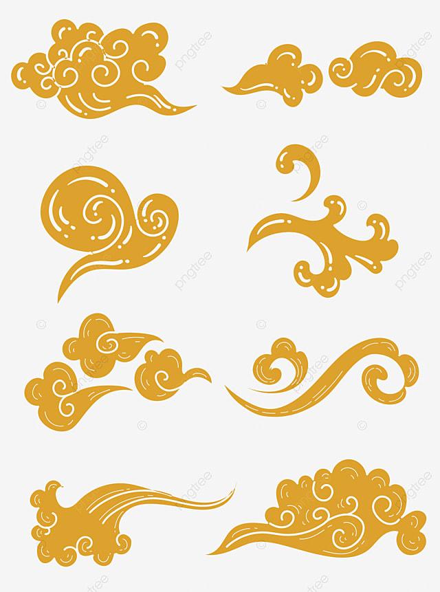 زخرفة سحابة ميمونة تقليدية ذهبية مرسومة باليد المتجه Xiangyun Png والمتجهات للتحميل مجانا
