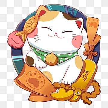 счастливая кошка рыбка и золотой слиток оба, кошка, вяленая рыба, Все идет хорошо PNG и PSD