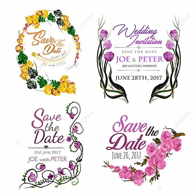 Watercolor Floral Wedding Logos Watercolor Vector Floral
