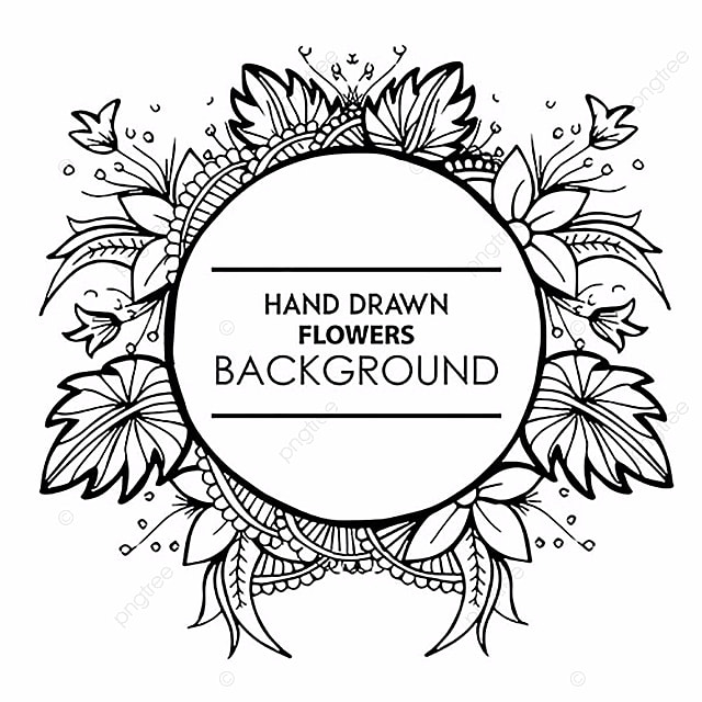 Black And White Hand Drawn Floral Frame, Black, Floral