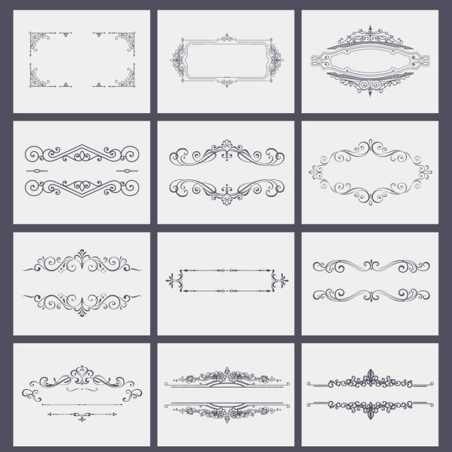 Ornate Frames Vector  PNG and PSD