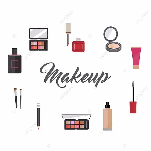 Makeup Artist Tools And Beauty Products Collection Kit PNG Vector