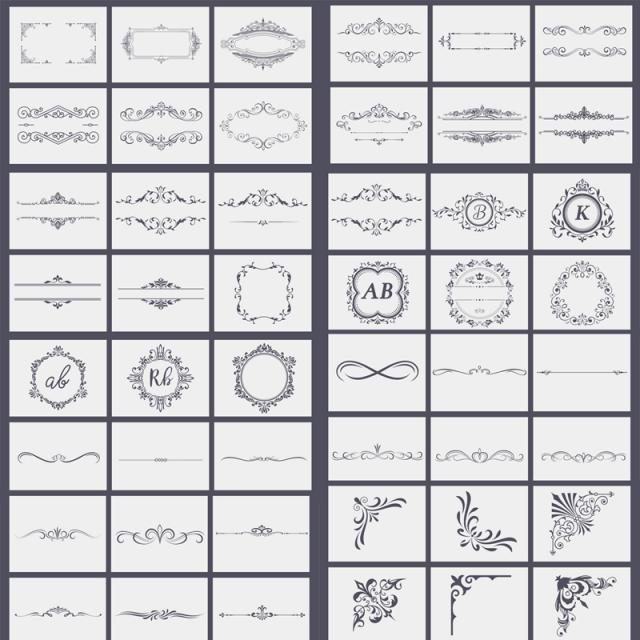 Calligraphic Design Bundle Set, Badge, Border, Calligraphic PNG and PSD