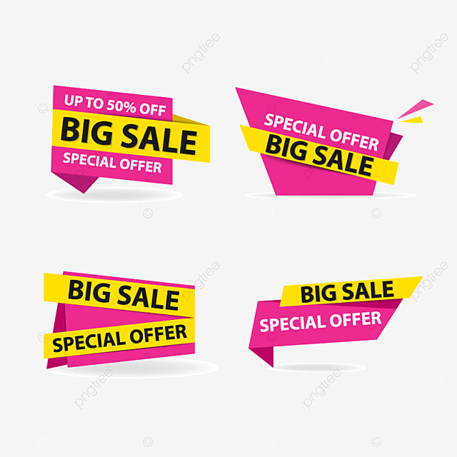Colorful Shopping Sale Banner Purple Yellow Ribbon Png