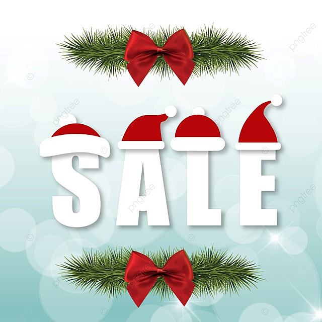 Merry Chirstmas sale with santa claus and red ribbon, Icons, Vector, Red PNG and Vector