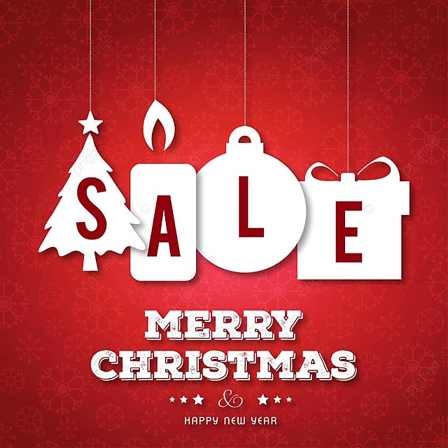 1f8b10d7d8cb Christmas Sale On Red Background With Tree Balls And Giftboxes ...