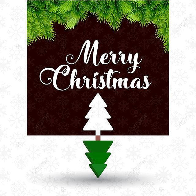 merry christmas with dark background and tree merry card text png and vector