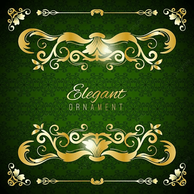 Vintage Invitation Card Green Luxury Background With Golden Frame