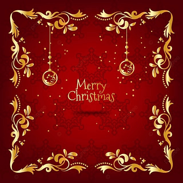 El Dorado Credit Card >> Vintage Christmas Red And Golden Greeting Card With Floral ...