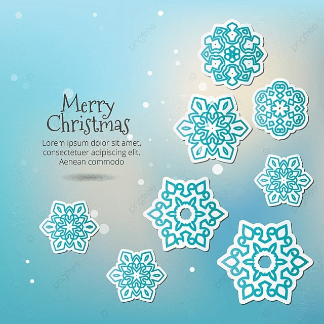 Merry Christmas Snowflakes With Shadow On A Blue Background