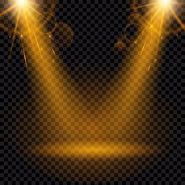 golden spotlight isolated on a transparent background