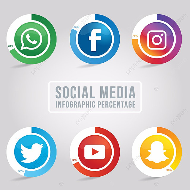 collection of rounded social media icons contexte blog