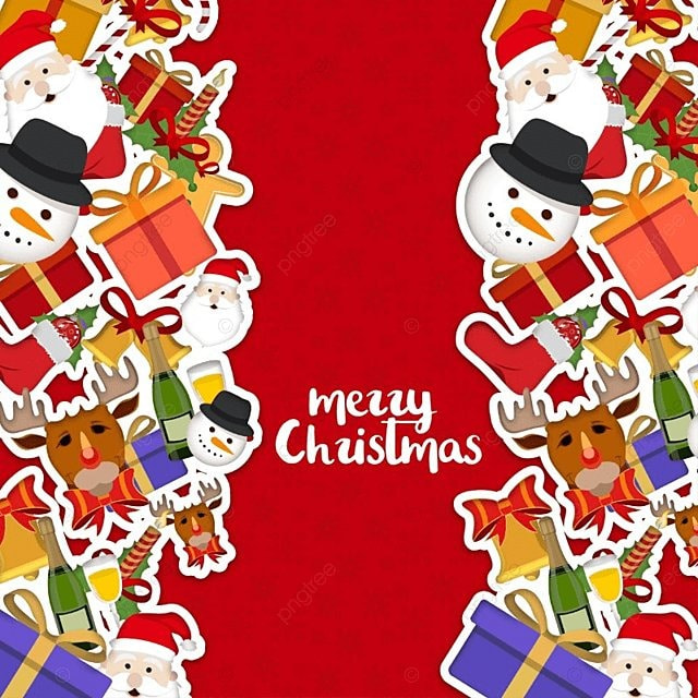 merry christmas card with borders background banner card png and vector