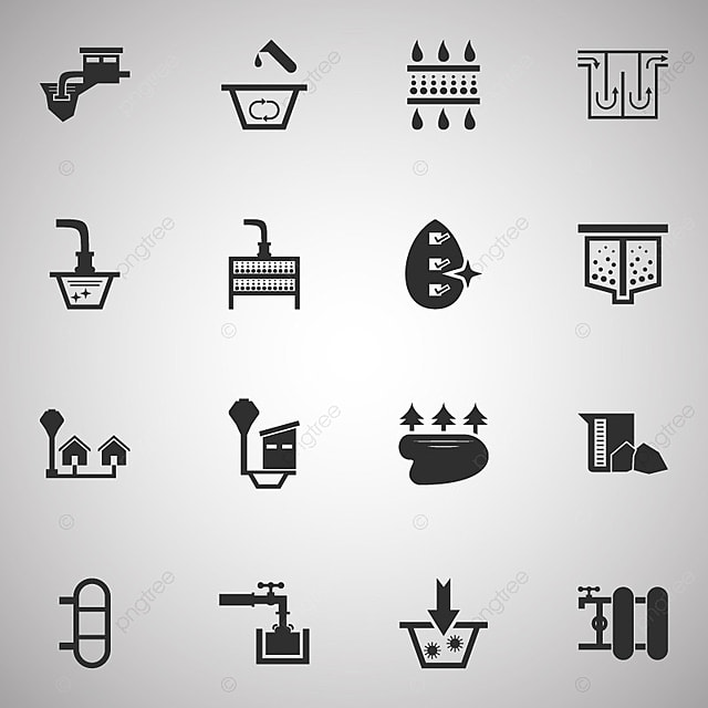 Water Treatment System And Water Filter Vector Icon Set Design