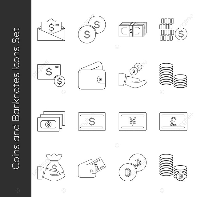 Thin line coins and banknotes icons icon money cash png and thin line coins and banknotes icons icon money cash png and vector ccuart Gallery