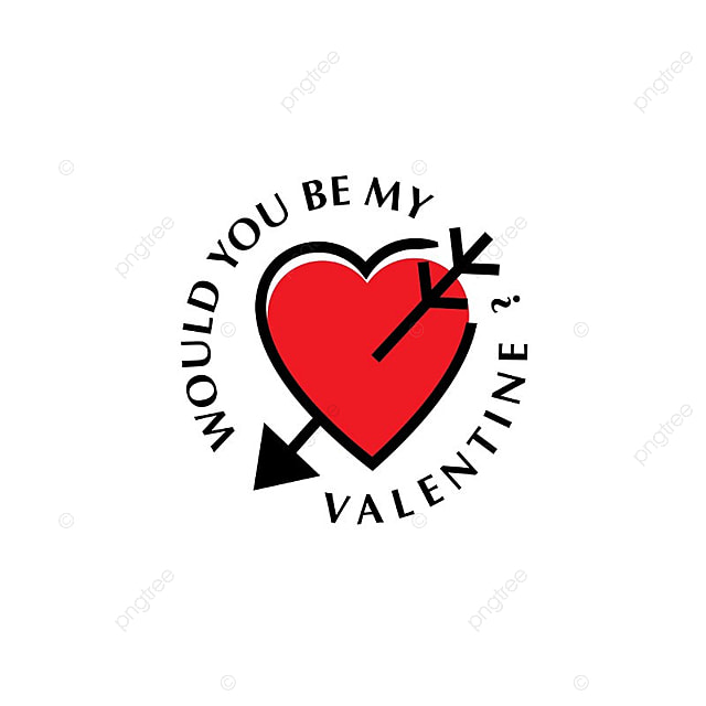 Would You Be My Valentine Typographic With Heart, Concept, Creative, Date  Free PNG And Vector