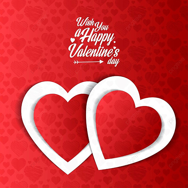 Happy Valentine S Day Card With Red Pattern Background Card Vector
