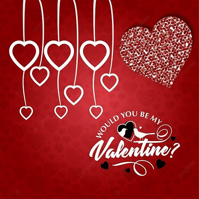Would You Be My Valentine With Red Pattern Background, Day, Valentines,  Valentine Free PNG And Vector