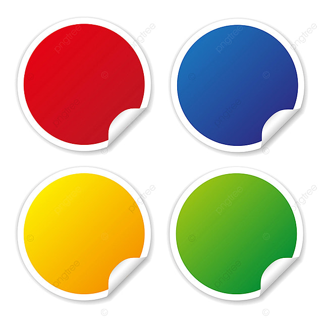 Round stickers in different colors vector collections isolated label sticker png