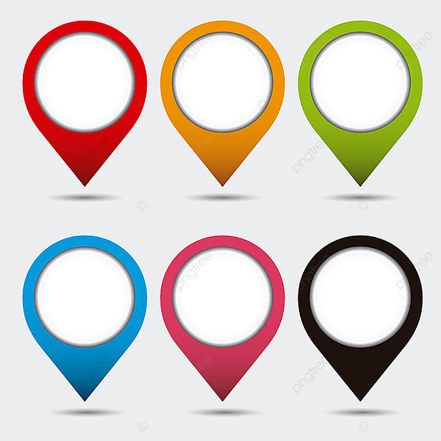 Pin Mark Set Collection With Shadow  Vector Icons , Marker, Mark