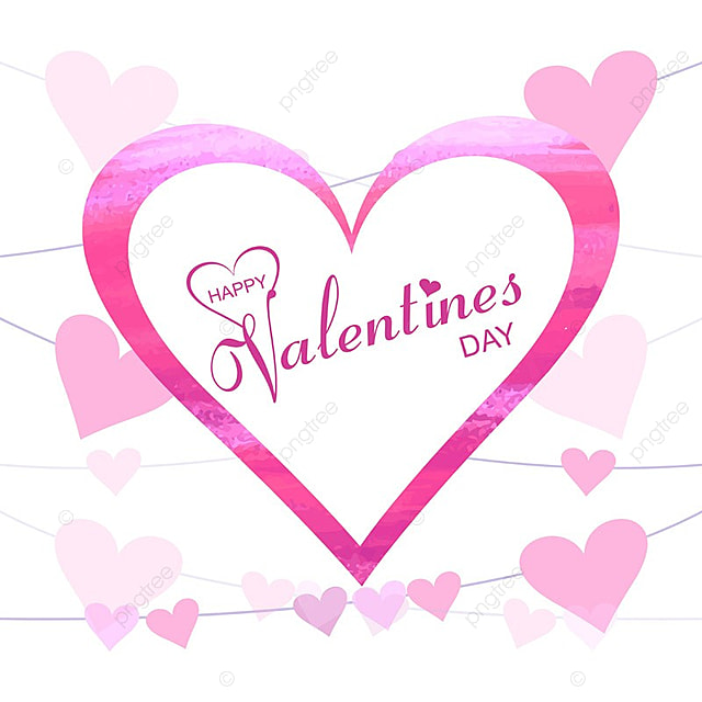 Happy Valentines Day Romantic Greeting Card Text Design Card Vector