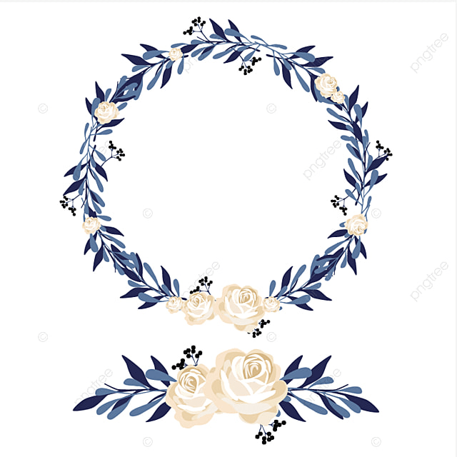 coroa de flores azul flores ramos folhas png e vetor para