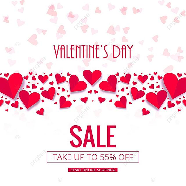 Valentines Day Colorful Hearts Sale Background Design Illustration