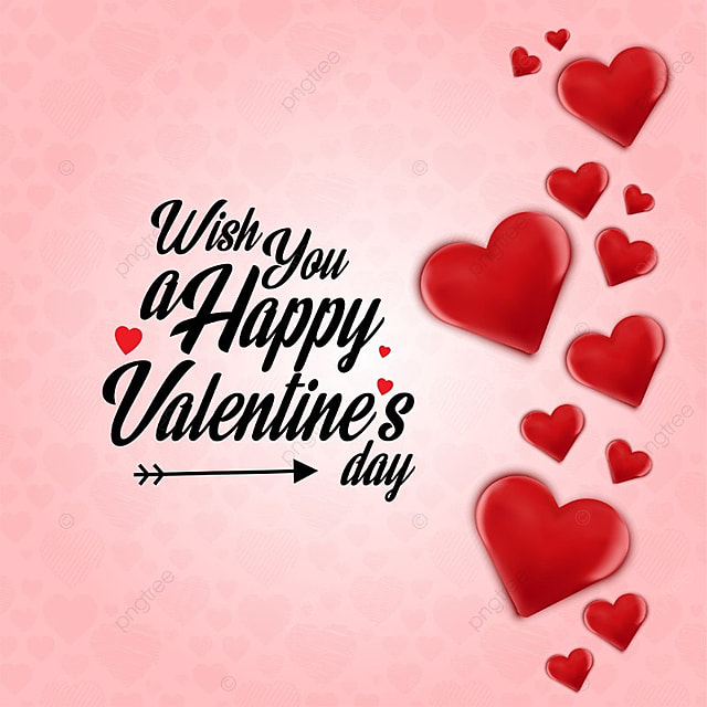 Wish you a Happy Valentine\'s day card with hearts, Day, Valentine ...