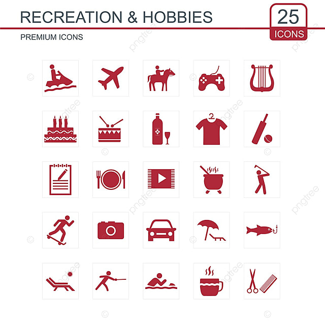 recreations and hobbies icons set  icon  line  icons png