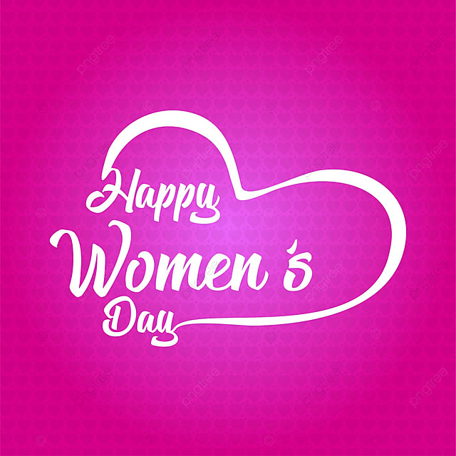 Happy Womens Day Typographic Card With Pink Pattern Background