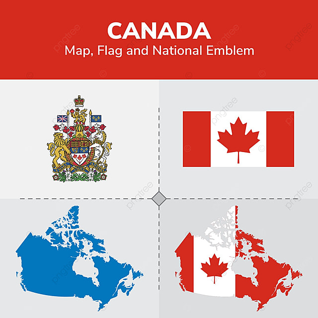 Canada Map Flag.Canada Map Flag And National Emblem Continents Countries Map Png