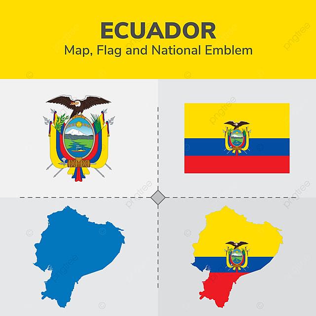 Ecuador Map Flag And National Emblem Continents Countries Map