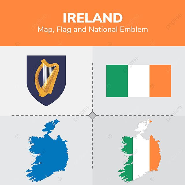 Irlanda Mapa Bandera Y Escudo Nacional Continentes Países Mapa PNG y ...