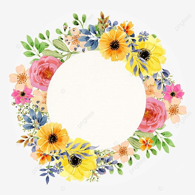 Watercolor Flowers Png Vector Psd And Clipart With: Watercolor Vintage Floral Spring Frame, Watercolor Vintage