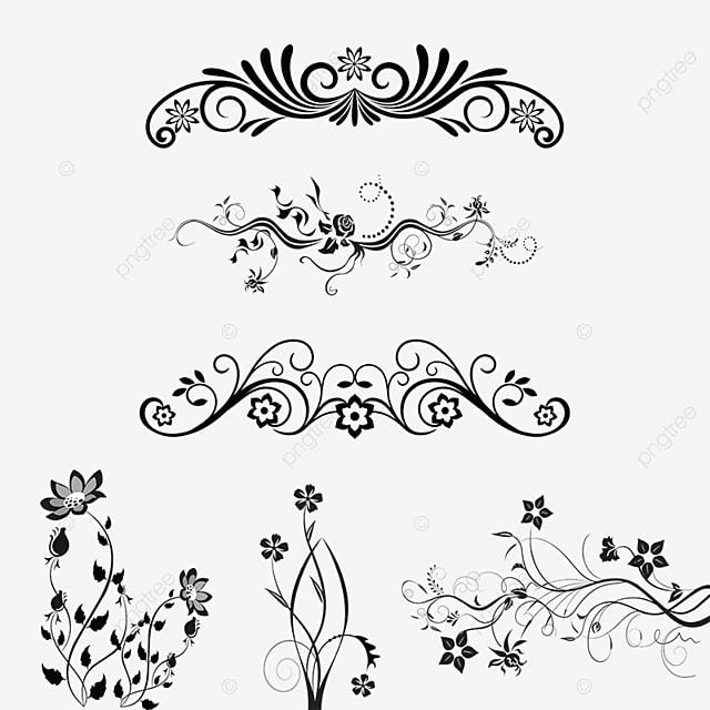 floral ornamental design elements vector png floral ornamental