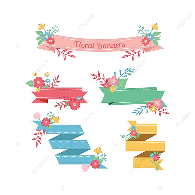 Floral Ribbon Banner Flat Banner Pink Png And Vector For Free