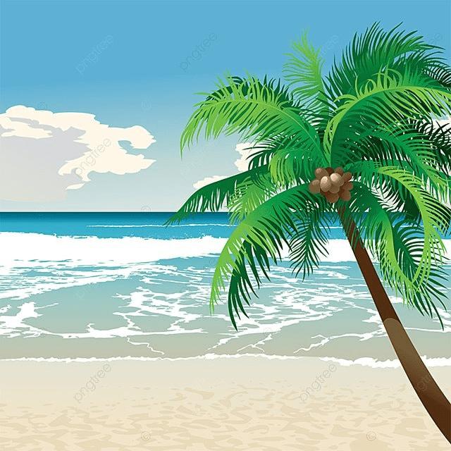 Картинка моря и пальмы для детей