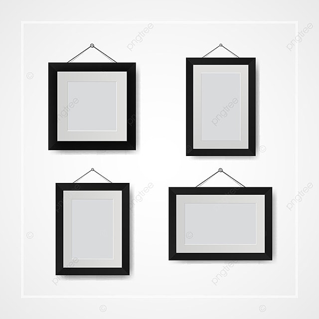 Multiple Many Small Picture And Photo Frames On White Wall
