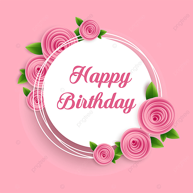 Pink Flower With Happy Birthday Card Vector Pink Flowers Flowers