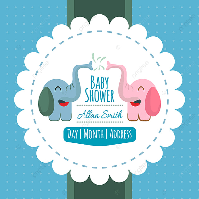 Baby Shower Background With Cute Elephant Invitation Baby Party