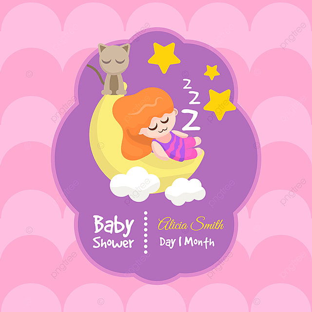 Cute Baby Shower Card For Girl Invitation Baby Party Png And