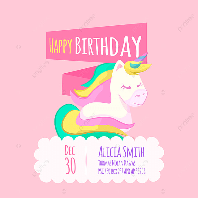 Cute Unicorn Birthday Card Background Vintage PNG And Vector