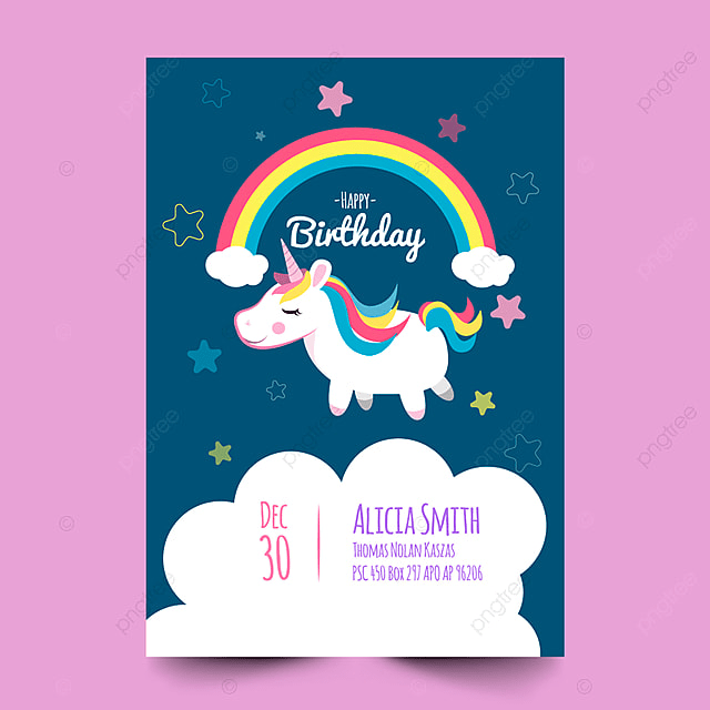 Birthday Card With Cute Unicorn Background Vintage PNG And Vector