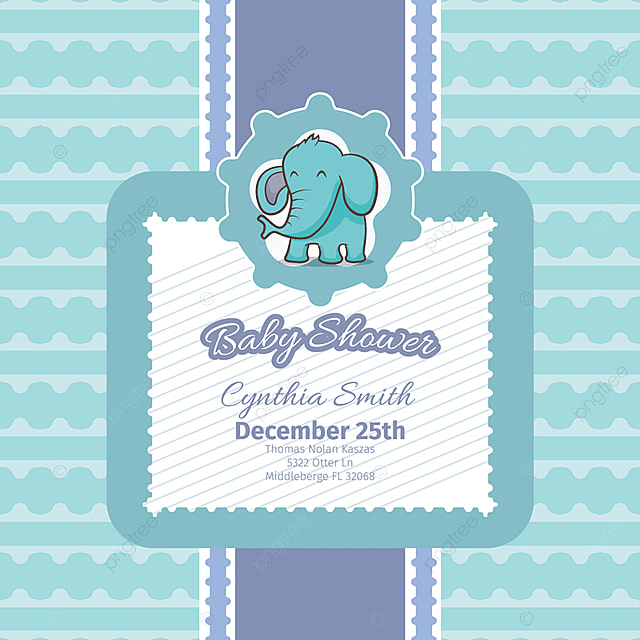 30641006d Baby Shower Card With Cute Elephant
