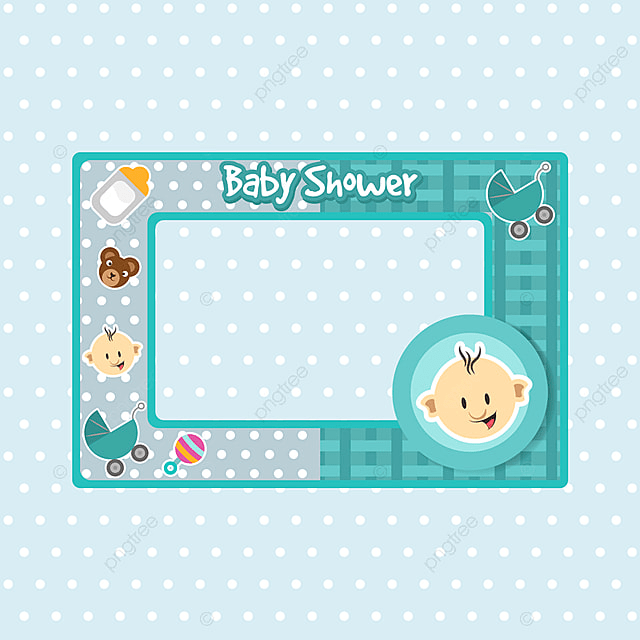 Baby Shower Frame In Blue Color Background Invitation Baby Png