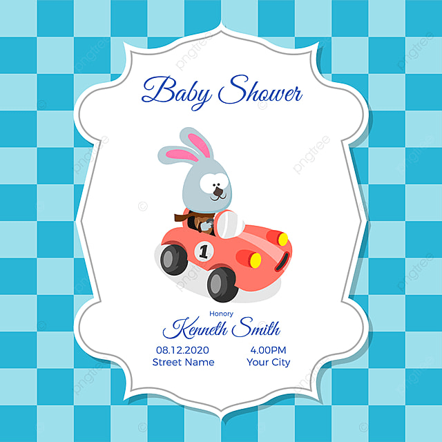 Baby Shower Card Template | Baby Shower Card Template Con Lindo Conejo Bebe Ducha Invitacion