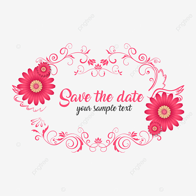 Save The Date Wedding Floral Ornament Wedding Floral