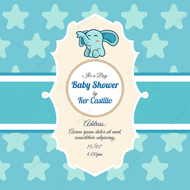 Blue Card For Baby Shower With A Cute Elephant Nvitation Baby Card