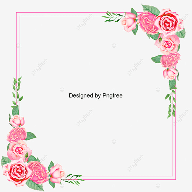 Wedding And Certificate Floral Border Border Clipart: Pink Rose Floral Frame, Pink, Rose, Clipart PNG