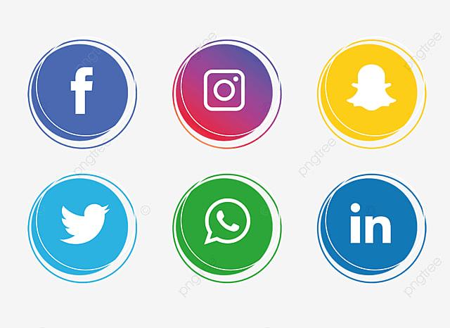 Colorful Social Media Icon Set, Facebook, Instagram ...